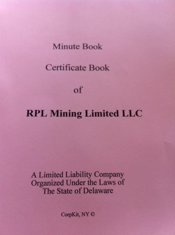 Minute/Certificate Book Title Page photo image
